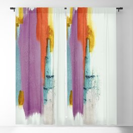 Aly: a colorful, minimal, abstract piece in bold purple, blue, orange, and yellow Blackout Curtain