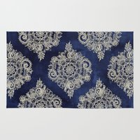 fabric Area & Throw Rugs featuring Cream Floral Moroccan Pattern on Deep Indigo Ink by micklyn