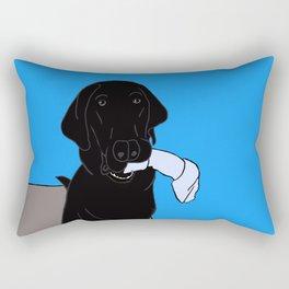 Black Lab With A Bone Rectangular Pillow