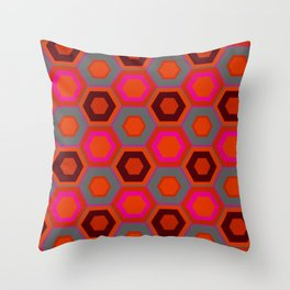 Hot Pink Hexagons Throw Pillow