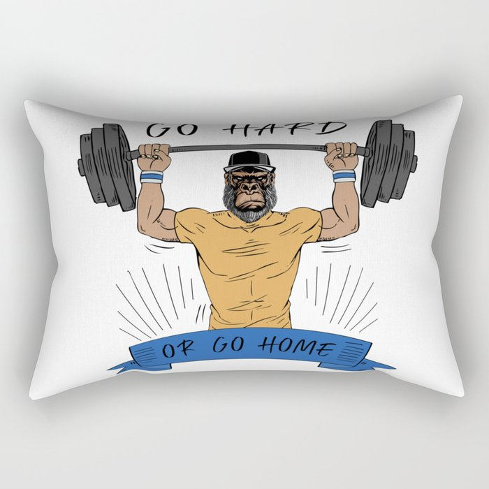 Go Hard or Go Home | Gym Motto Rectangular Pillow