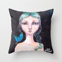 jane davenport Throw Pillows featuring Blue Bird by Jane Davenport by Jane Davenport