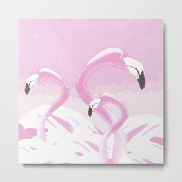 Soft Pink Flamingos Design Metal Print