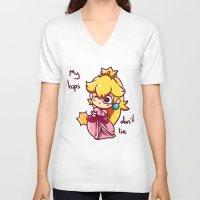 princess peach V-neck T-shirts featuring Princess peach by HeliPeach