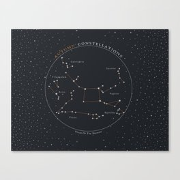 Autumn Constellations Star Chart Canvas Print