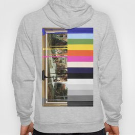 Garage Sale Painting of Peasants with Color Bars Hoody