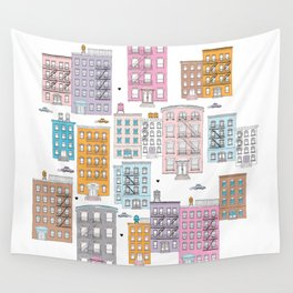 New York Brownstone Architecture - Pastel homes Wall Tapestry