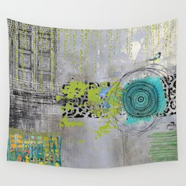 Teal & Lime Round Abstract Art Collage Wall Tapestry