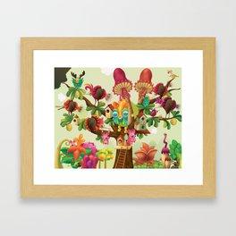 Mushroom Tree & Shell Bird Framed Art Print