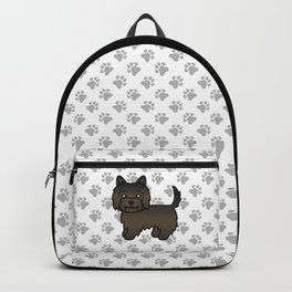 Cute Dark Brindle Cairn Terrier Dog Cartoon Illustration Backpack