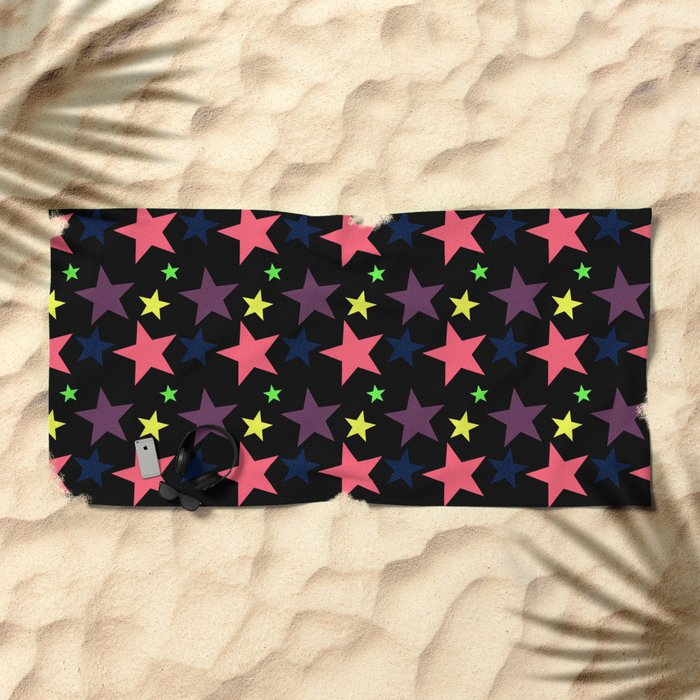 Happy Stars on Black Beach Towel