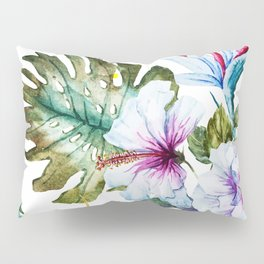 Watercolor Tropical Hibiscus Pillow Sham