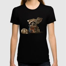 Rocket and Groot MEDIUM Black Womens Fitted Tee