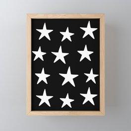 Star Pattern White On Black Framed Mini Art Print