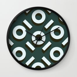 Teal Keyhole Pattern II Wall Clock