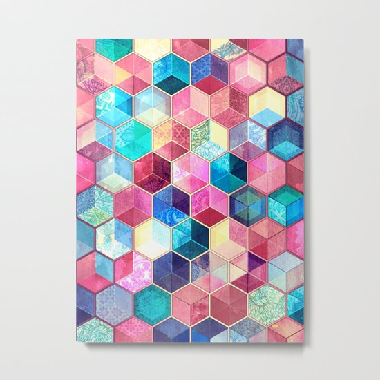 Topaz & Ruby Crystal Honeycomb Cubes Metal Print