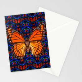 ORANGE BUTTERFLIES  & DARK BLUE ART PATTERN Stationery Cards