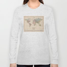 Vintage River Systems World Map (1852) Long Sleeve T-shirt