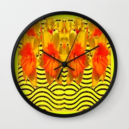 Yellow & Orange Daffodils Pattern Wall Clock