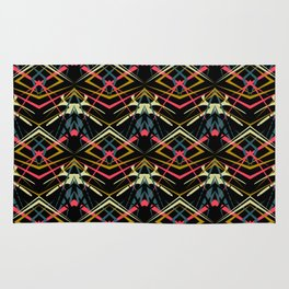 Abstract colorful pattern on black background . Rug