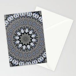 Greyscale abstract flowers in mandala Stationery Cards