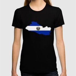 El Salvador Map with Salvadoran Flag T-shirt