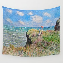 Claude Monet Cliff Walk At Pourville 1882 Wall Tapestry