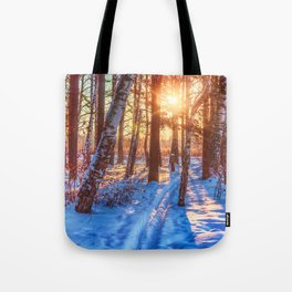 Ski track in the winter forest Tote Bag