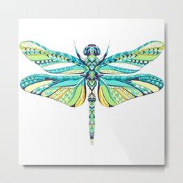 Colorful patterned dragonfly illustration Metal Print