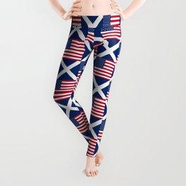 Mix of flag: usa and scotland Leggings