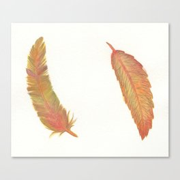 a fall leaf or a colorful feather Canvas Print
