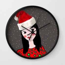 Christmas with you | Kids Painting | Only Love by Elisavet Wall Clock