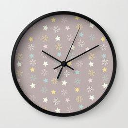 Pastel brown pink yellow Christmas snow flakes stars pattern Wall Clock