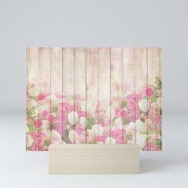 Beautiful Pink Tulip Floral Vintage Shabby Chic Mini Art Print