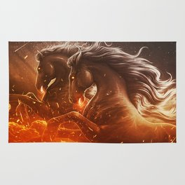 Fire with Horses Rug