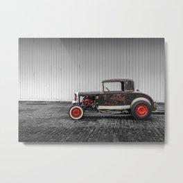 Rat Rod Black and Red Metal Print