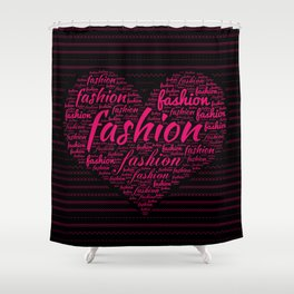 Fashion Word Art in Bright Pink in Heart shape Shower Curtain