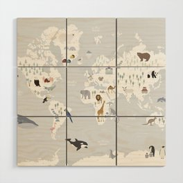 Animal Map of the world Wood Wall Art