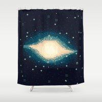 8bit Shower Curtains featuring Sombrero Galaxy M104 (8bit) by sp8cebit