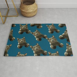 night sky skydiving funny flying cat Rug