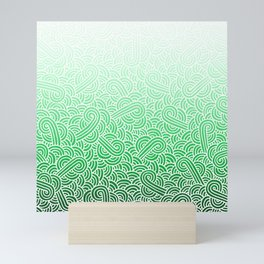 Faded green and white swirls doodles Mini Art Print