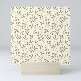 Green on Cream Assorted Leaf Silhouette Pattern Mini Art Print