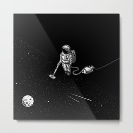 Space Clean Up by Astronaut Metal Print