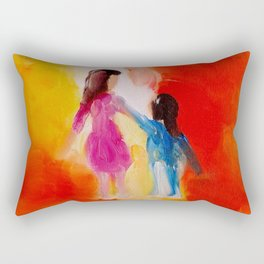 """""""Two of us"""" Original oil finger painting by Monika Toth Rectangular Pillow"""