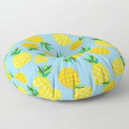 Tropical Pineapple Fruits on Turquoise Floor Pillow