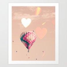 Hot air balloon nursery and heart bokeh on pale pink Art Print