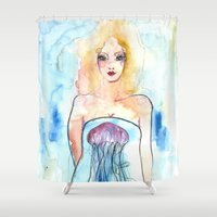 jelly fish Shower Curtains featuring Night Light Jelly Fish by Julie Lehite