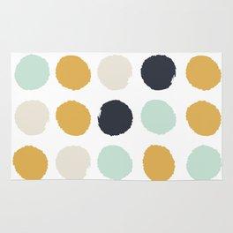 Tinsley - painted dots polka dots minimalist decor nursery gold navy Rug