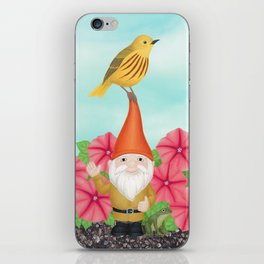 gnome with yellow warbler and petunias iPhone Skin
