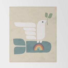 Peace dove and rainbow bomb Throw Blanket